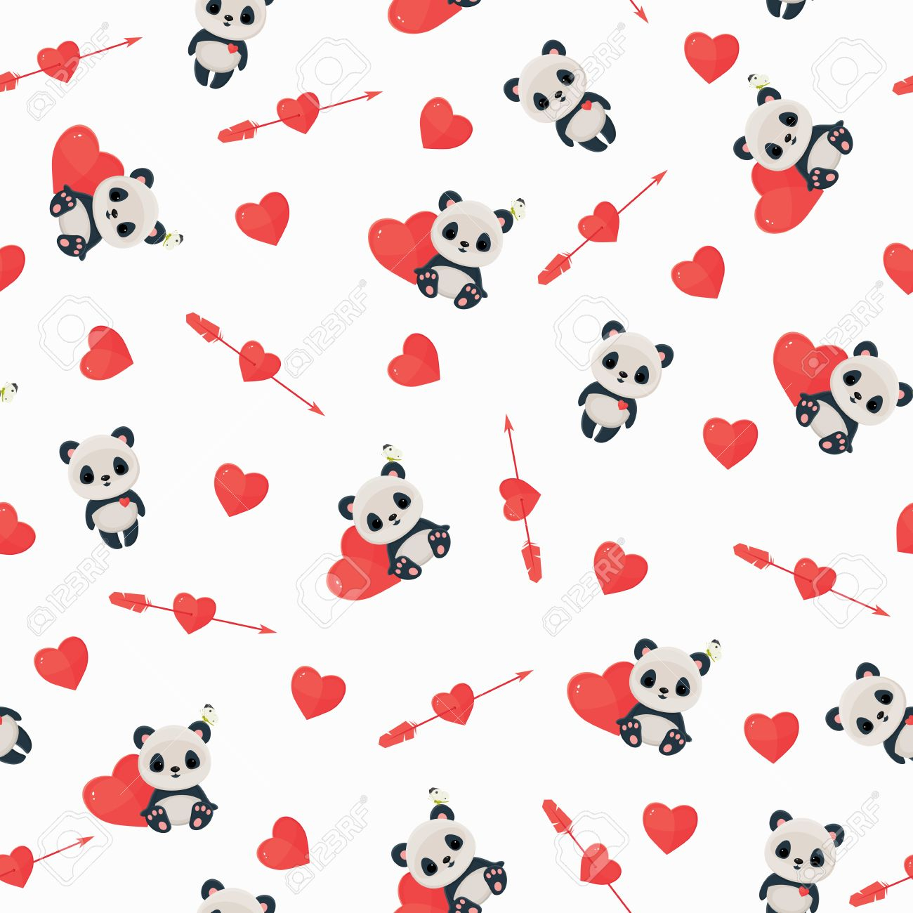 seamless pattern with panda in love saint valentine s day wallpaper panda heart arrow on white backg