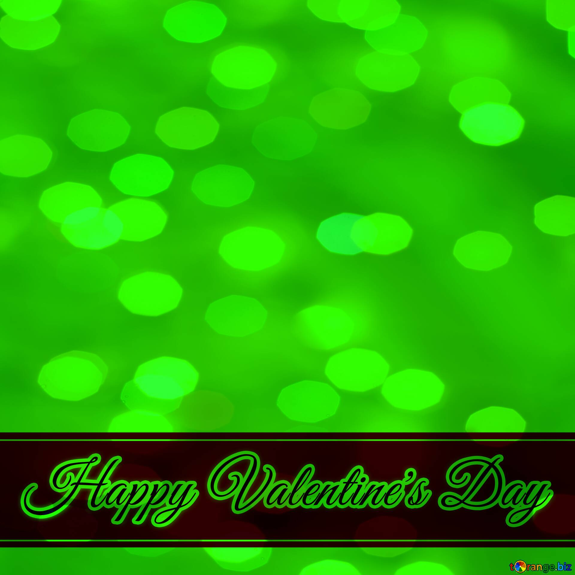 greeting card green background lettering happy valentines day