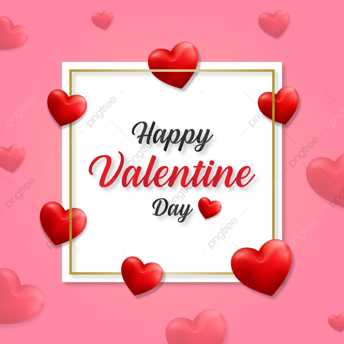 pngtree happy valentine day heart frame with classic heart background png image
