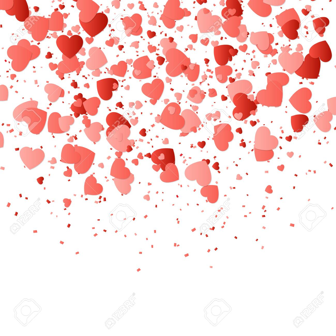 photo stock vector valentines day background with confetti in the shape of hearts