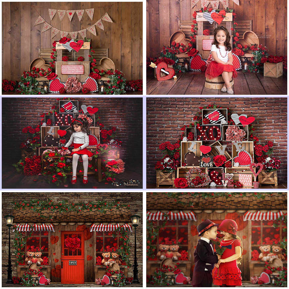 MOCSICKA Valentine Rustic Wooden graphy Background Red Rose Birthday graphy Backdrops For Studio q50