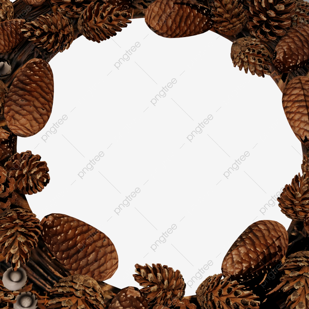 pngtree christmas pine wreath with realistic rustic wooden border png image