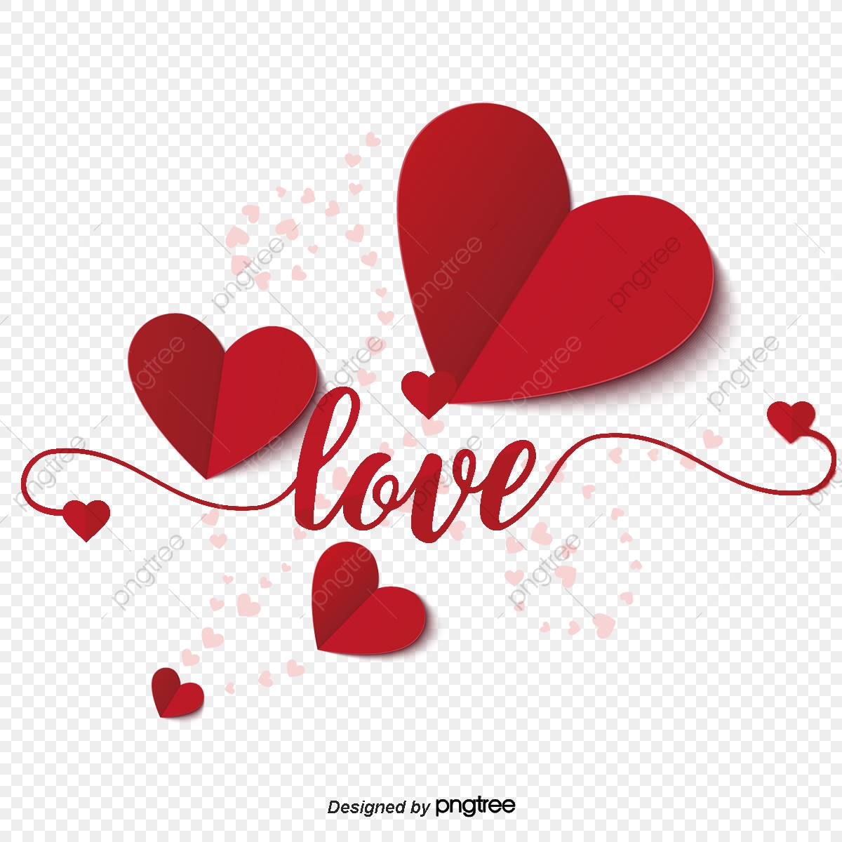 pngtree red love origami valentines day elements png image
