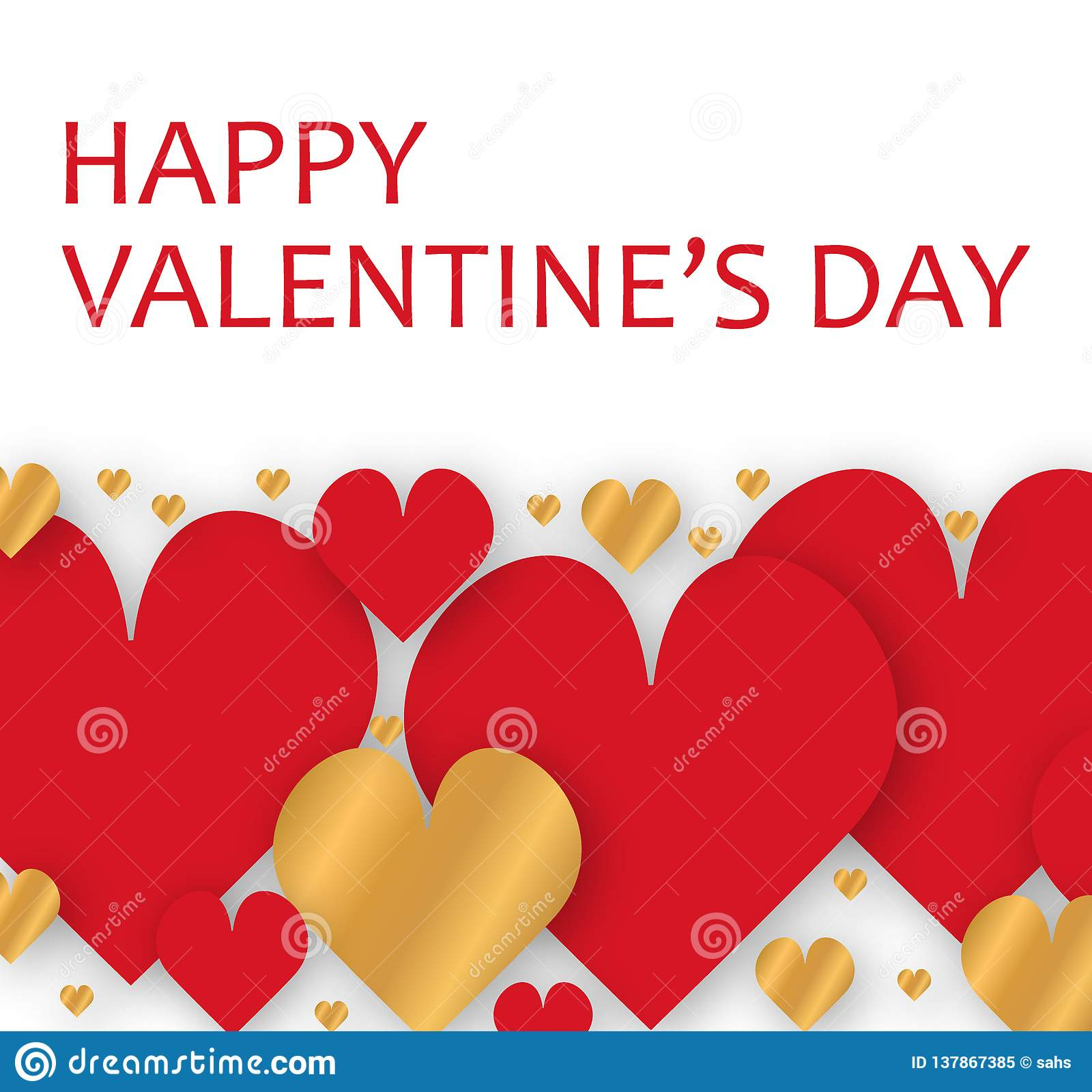 vector paper cutout postal illustration banner background wallpaper greeting card valentine day red gold hearts