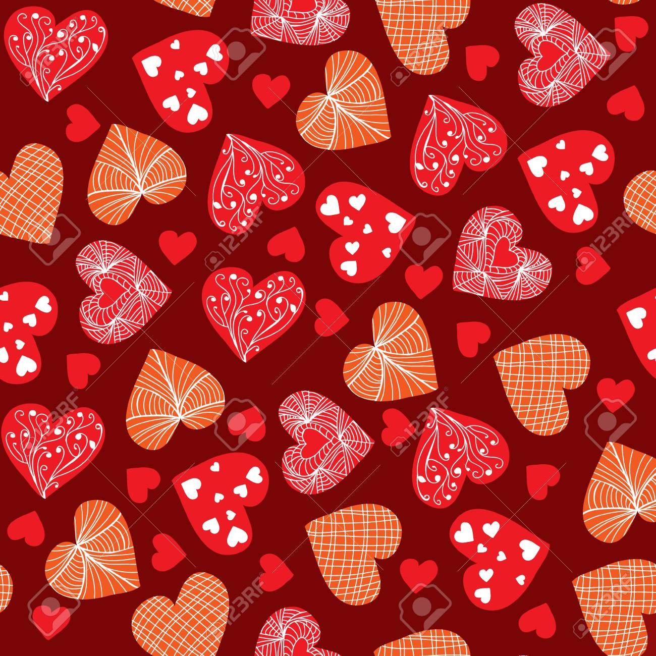 photo stock vector valentines day background design doodle hand drawn valentine hearts background for wallpaper wrappin