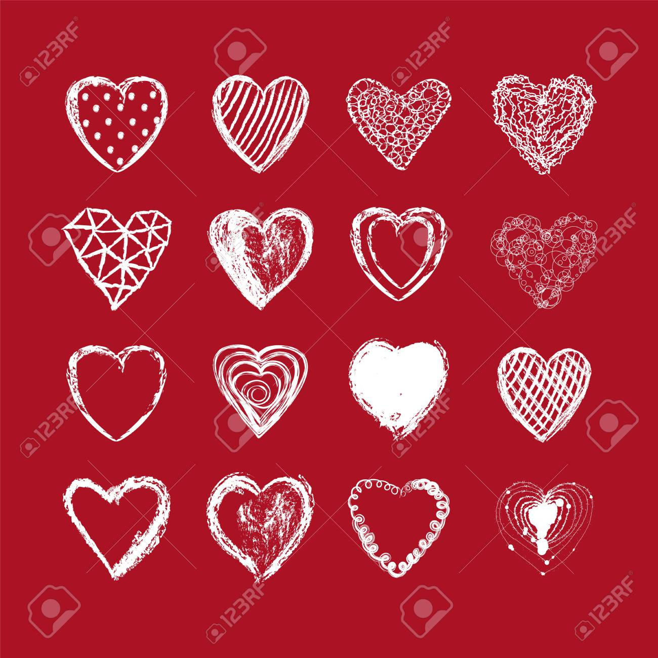 photo stock vector hand drawn heart background valentines day red white color vector illustration love wallpaper abstra