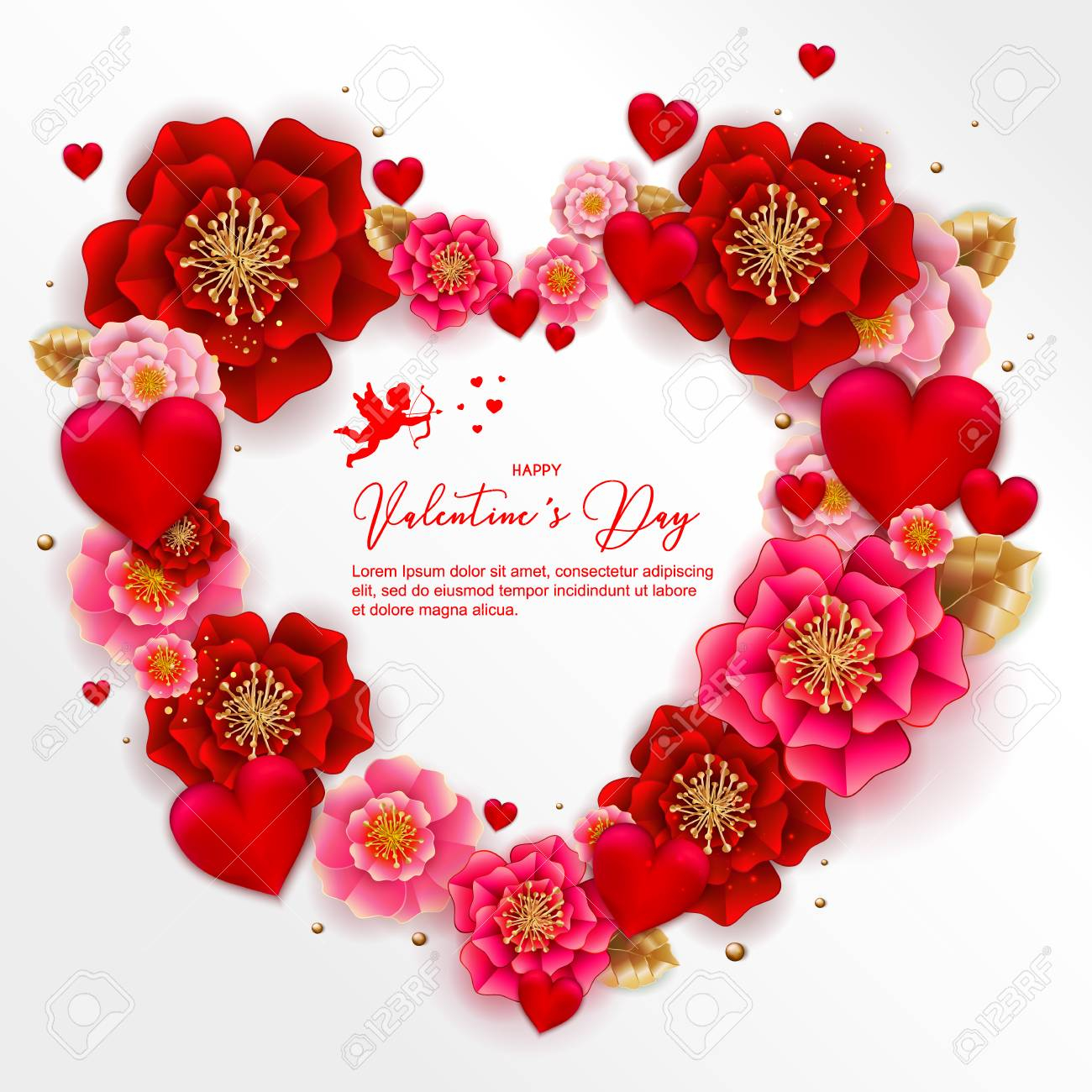 photo stock vector happy valentine s day banner with beautiful colorful flowers and hearts can be used for template ban