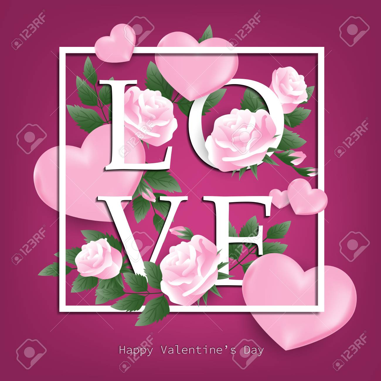photo stock vector valentine s day background with pink rose and heart around love text and happy valentine s day text