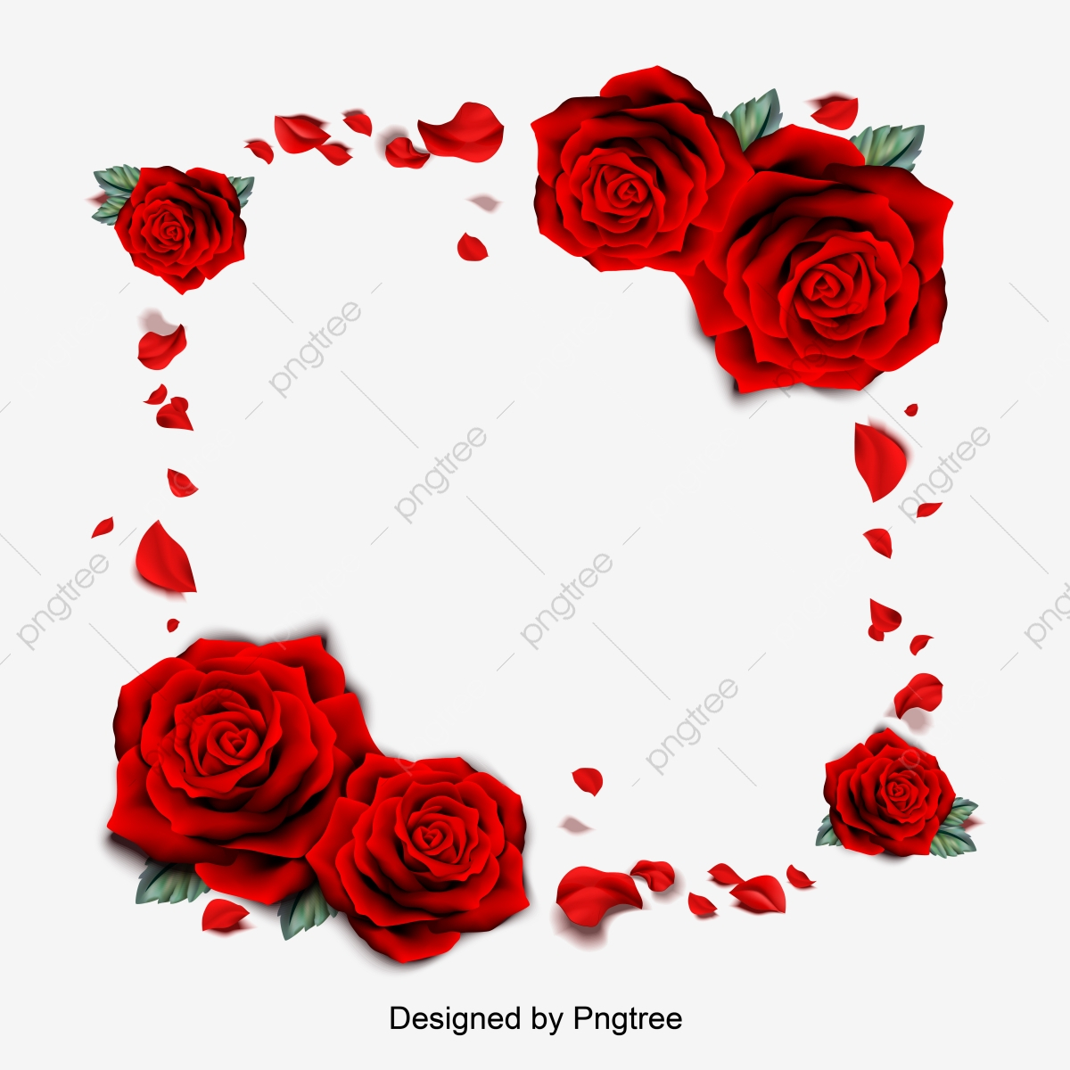 pngtree vector illustration of red rose petal borders romantic valentines day borders png image