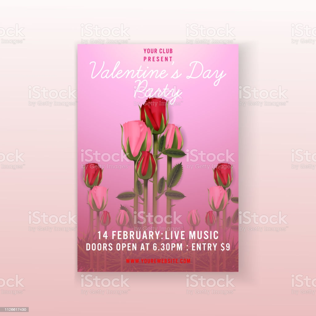 valentines day party roses background invitation flyer template gm