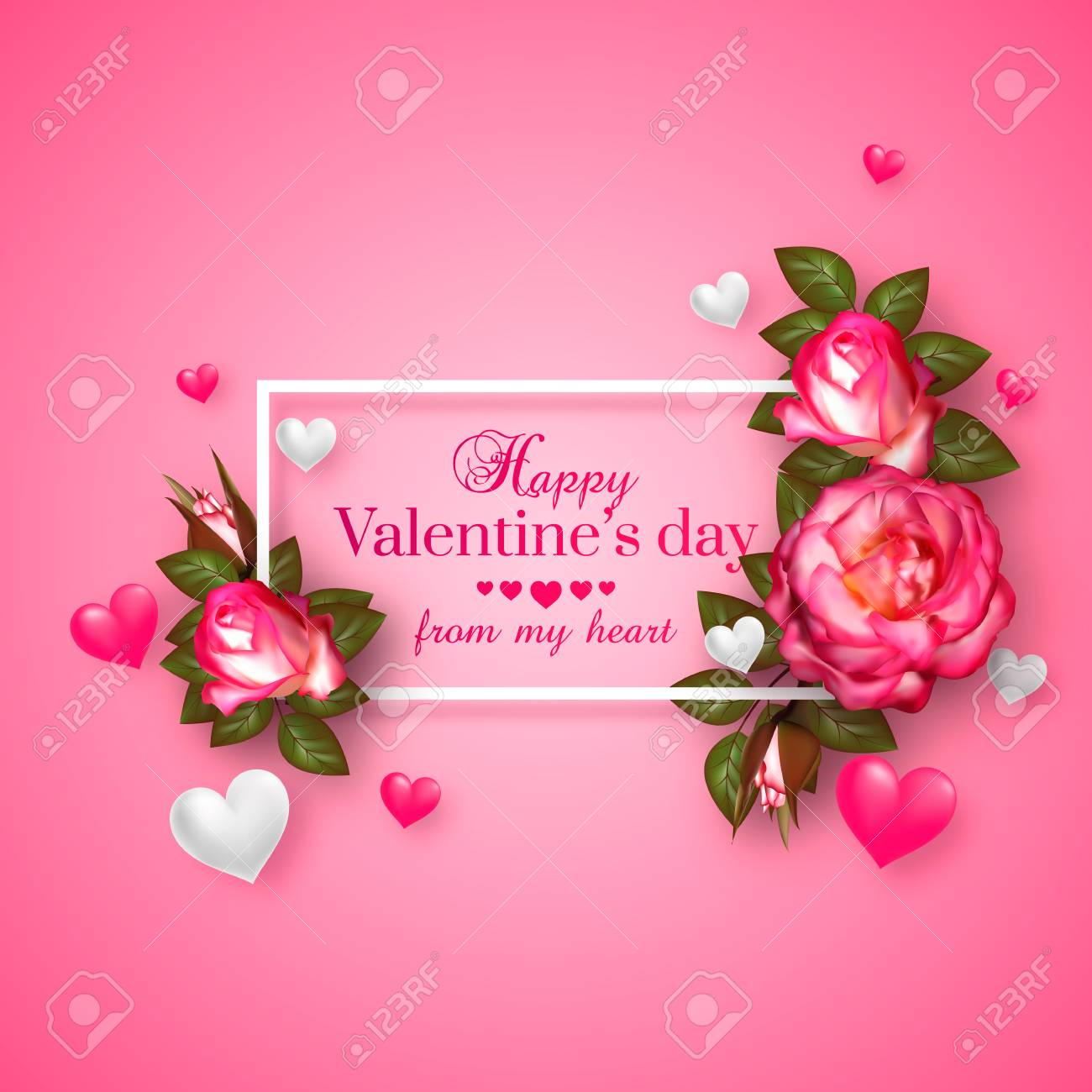 photo stock vector realistic 3d floral valentines day card with floating hearts and roses happy valentines day greeting