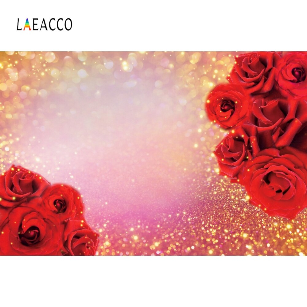 Laeacco Light Bokeh Glitters Red Roses Valentine s Day zone graphy Backgrounds graphic Backdrops For