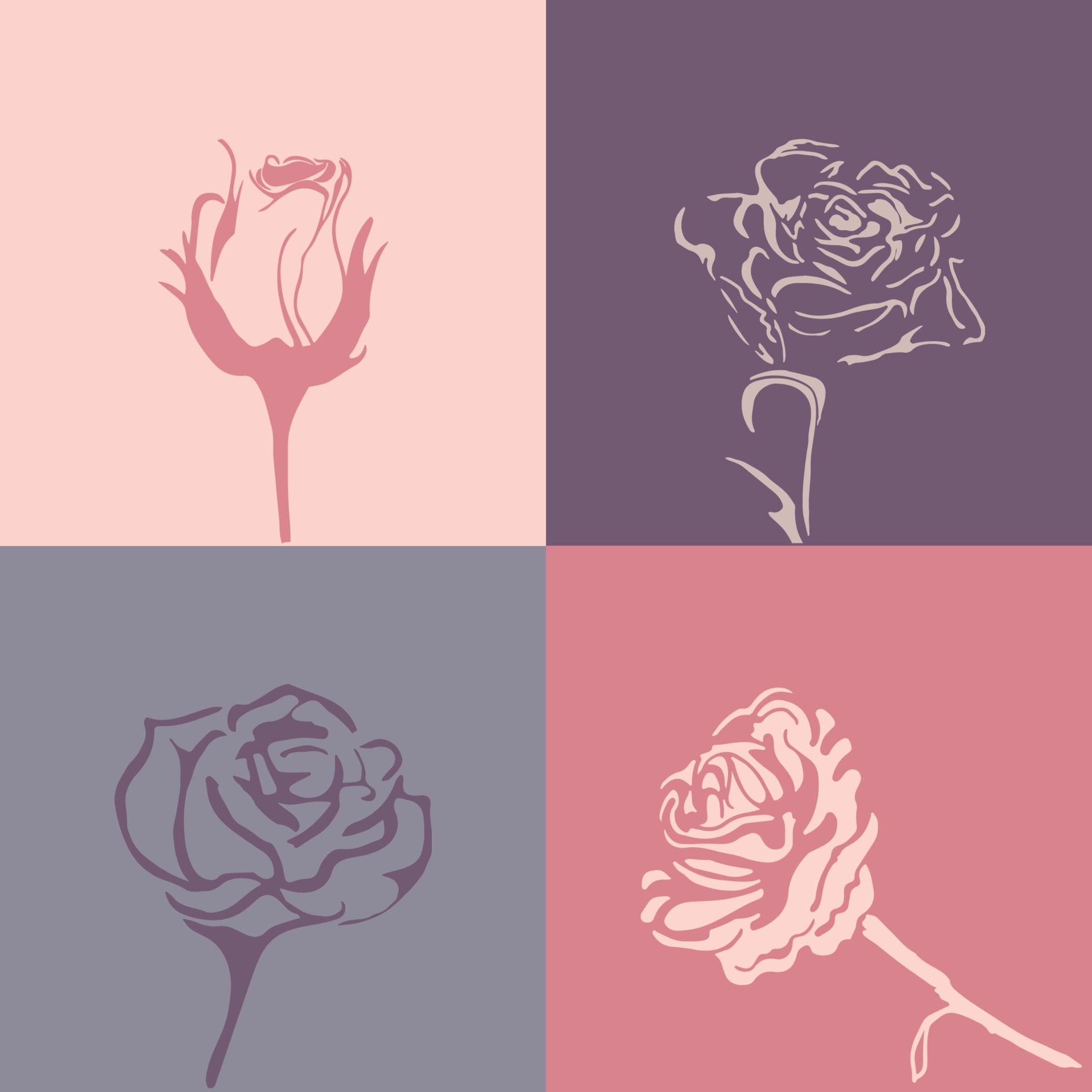 silhouette of roses for valentine s day in vintage style for card and seamless background free vector