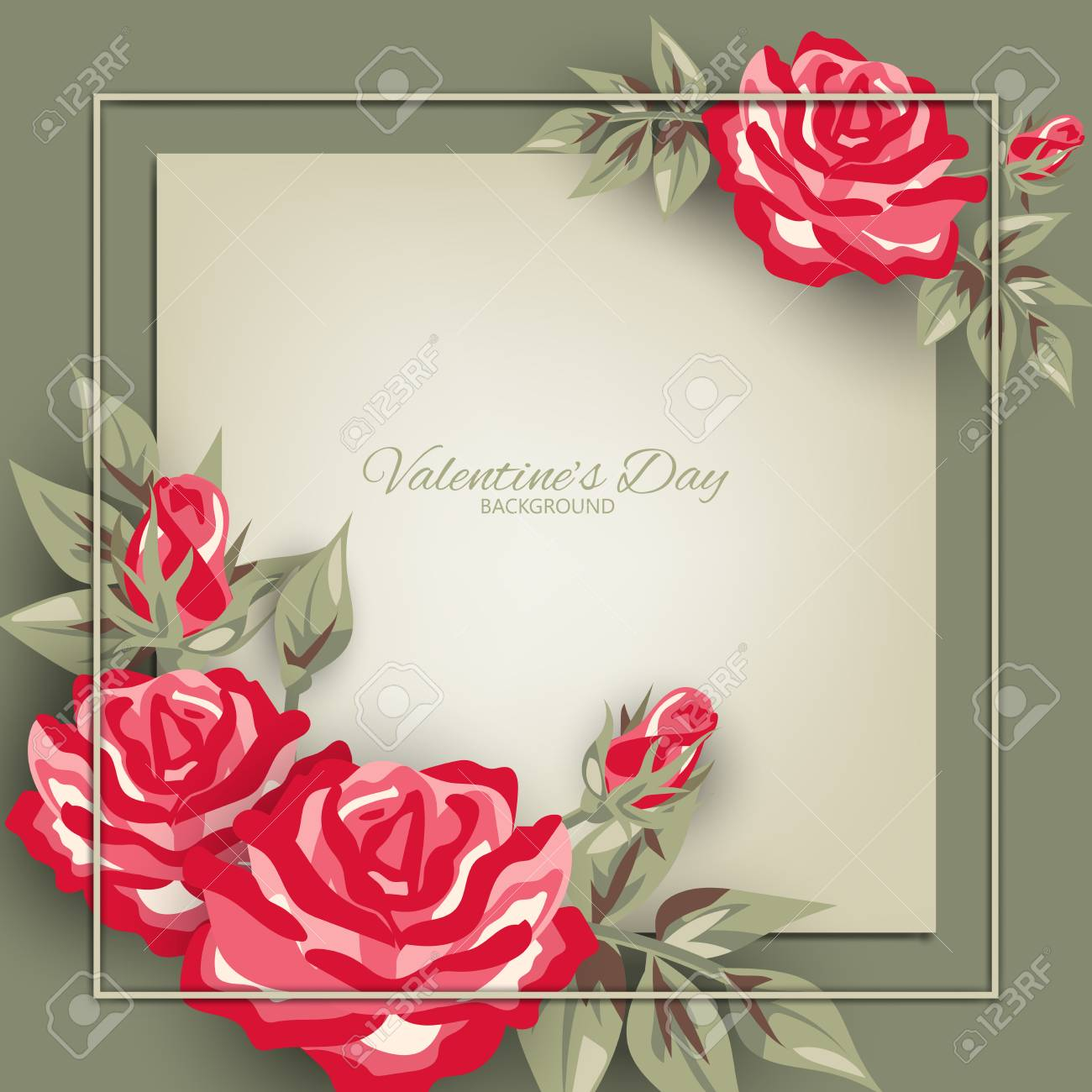 photo stock vector valentines day background with pink rose frame concept of love and valentine day