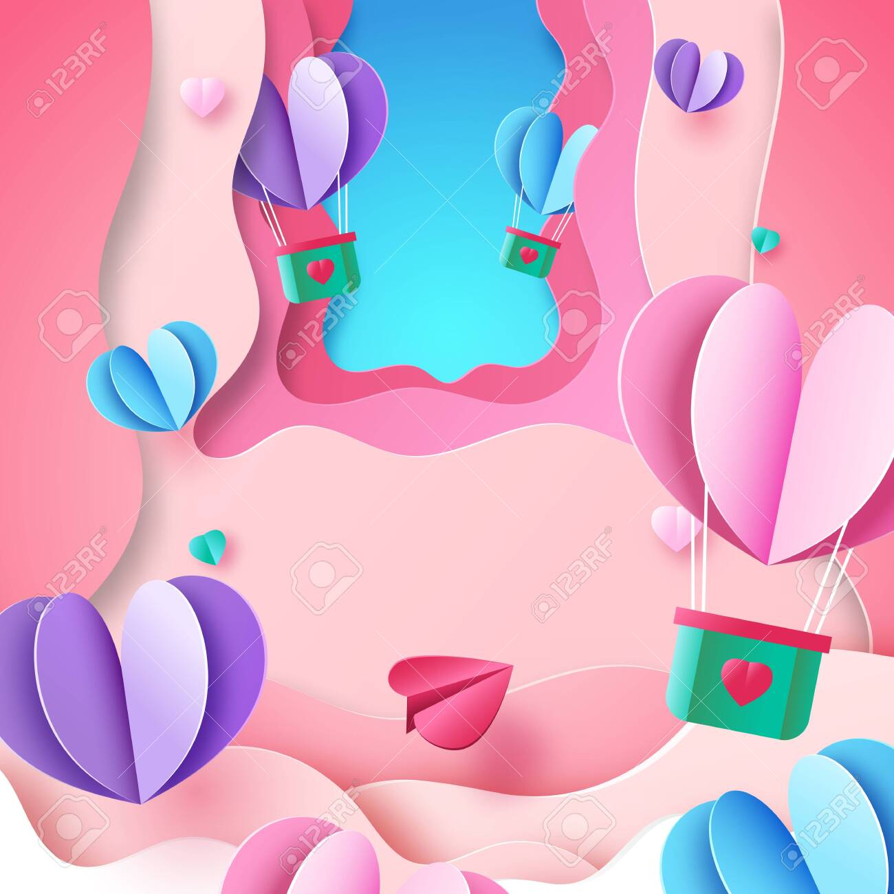 photo stock vector paper art style of valentine day greeting card template background love and heart concept vector ill