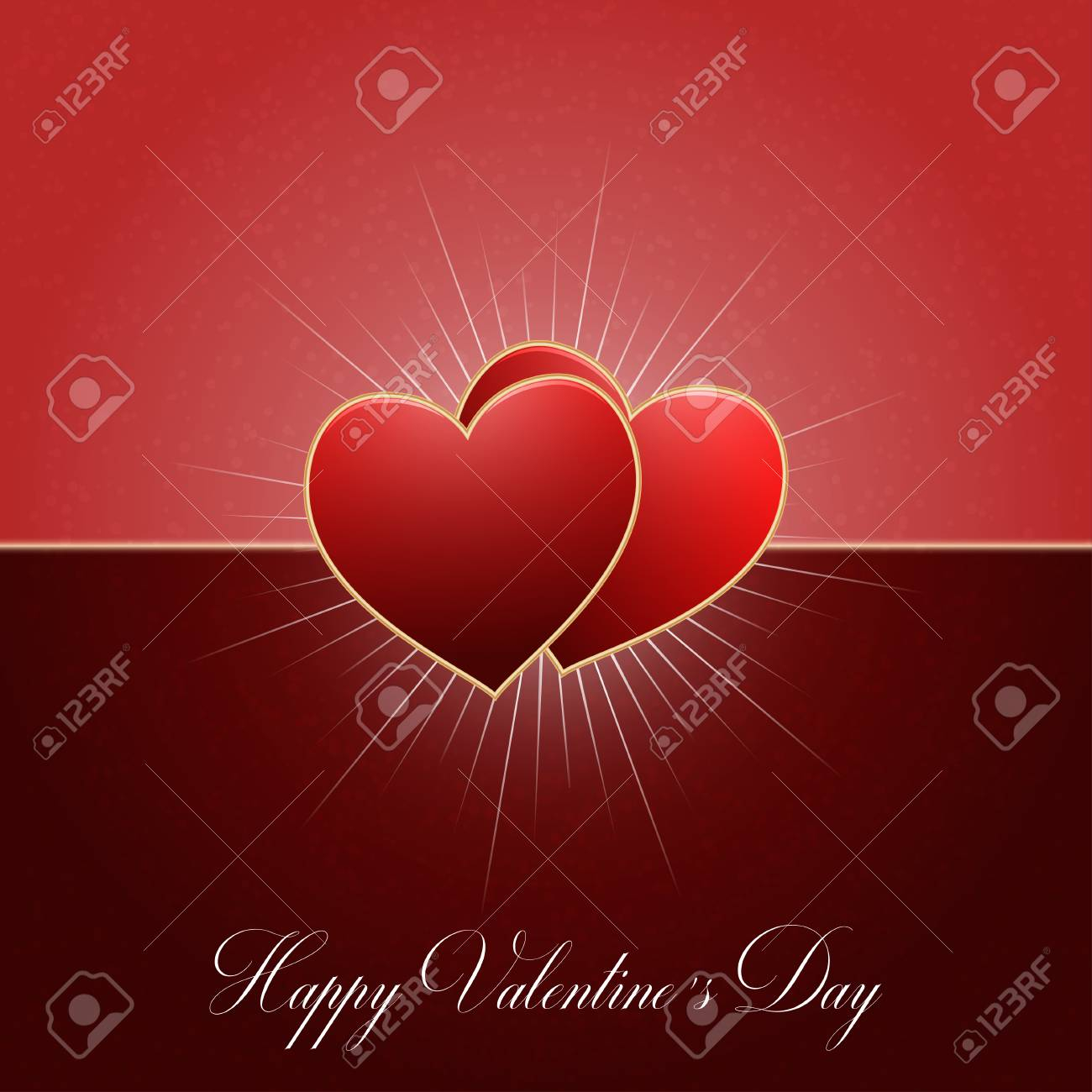 photo stock vector valentines day background with two red hearts and rays of lights happy valentine s day template vect