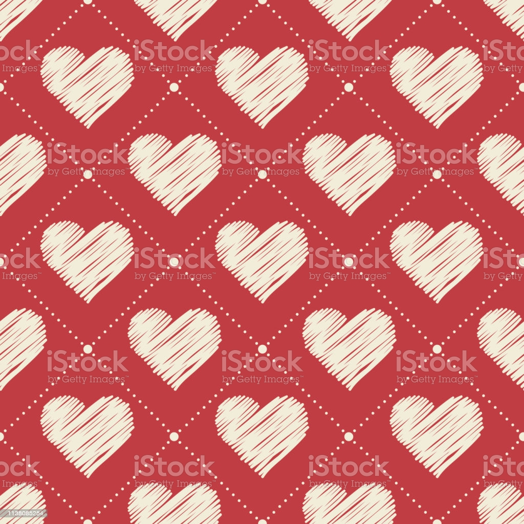 hand drawn hearts pattern valentines day background for holiday vector id
