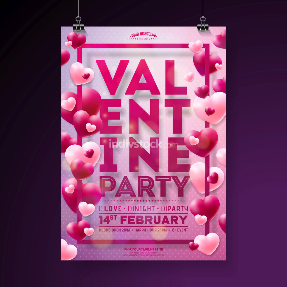stock vector vector valentines day party flyer design with typography and balloon heart on pink background love celebration poster template for invitation or greeting card