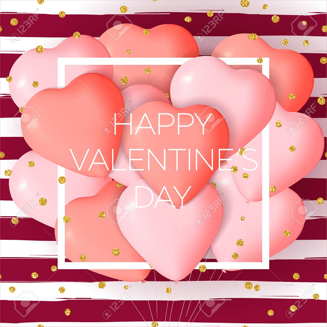 photo stock vector happy valentine s day card template with cute and fancy pink red heart balloons with lettering it ma