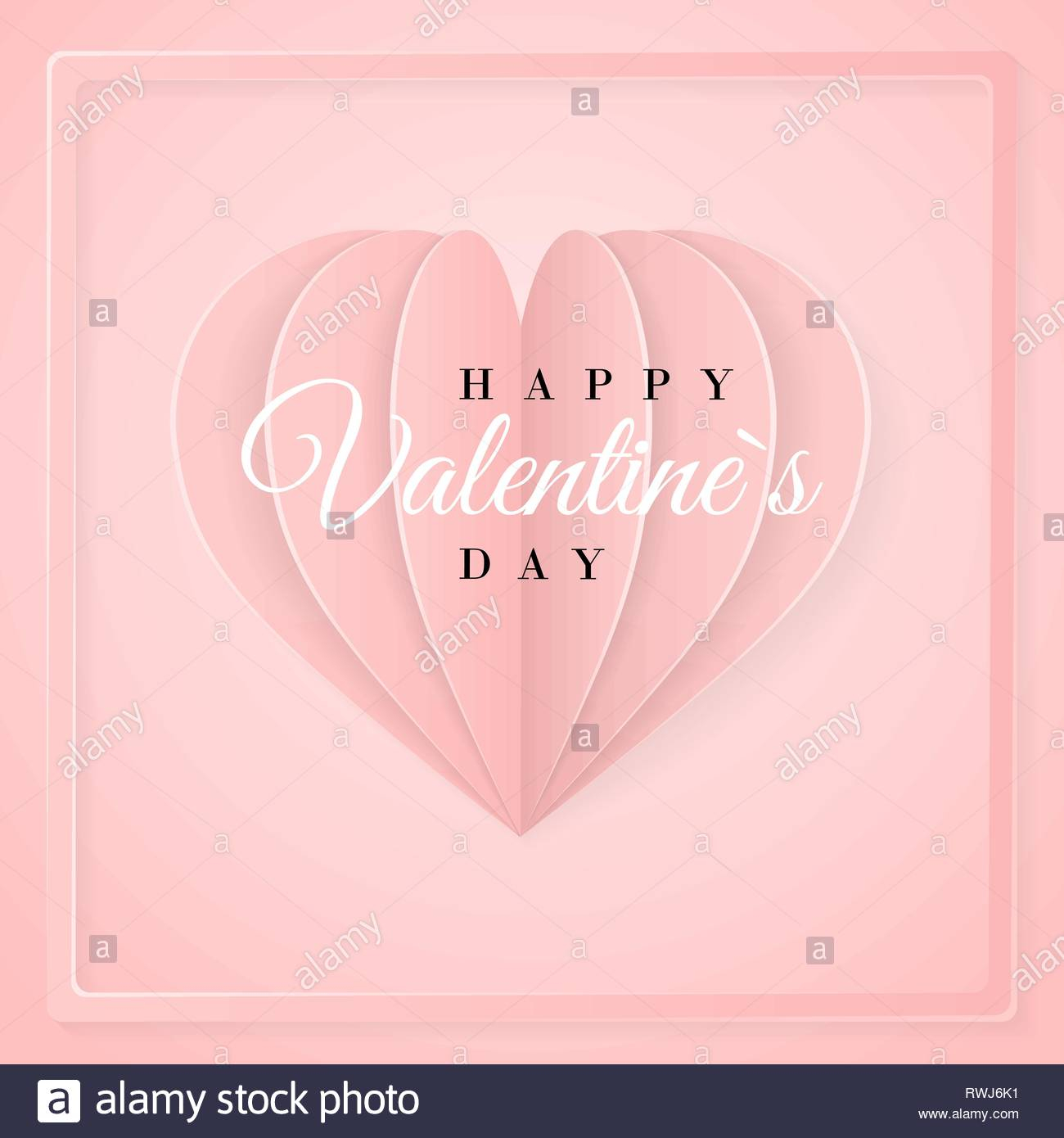 happy valentines day invitation card template with origami paper heart pink background vector illustration RWJ6K1