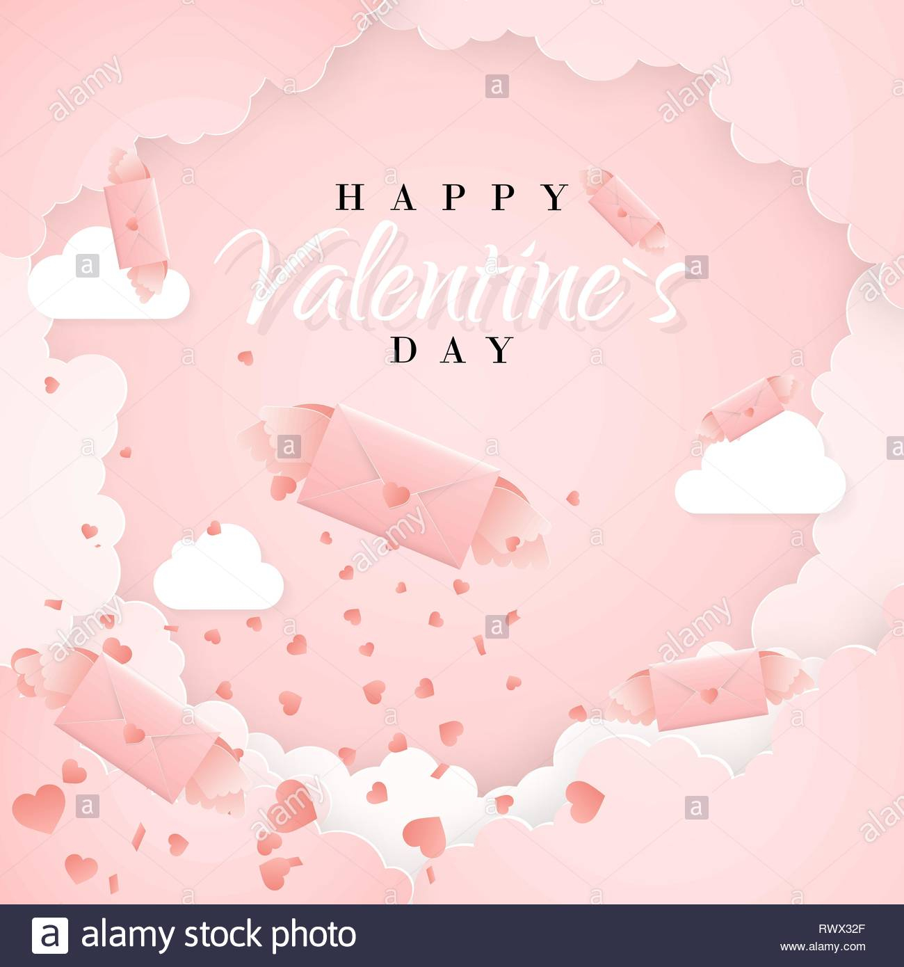 happy valentines day invitation card template with origami paper letter clouds and confetti pink background vector illustration RWX32F