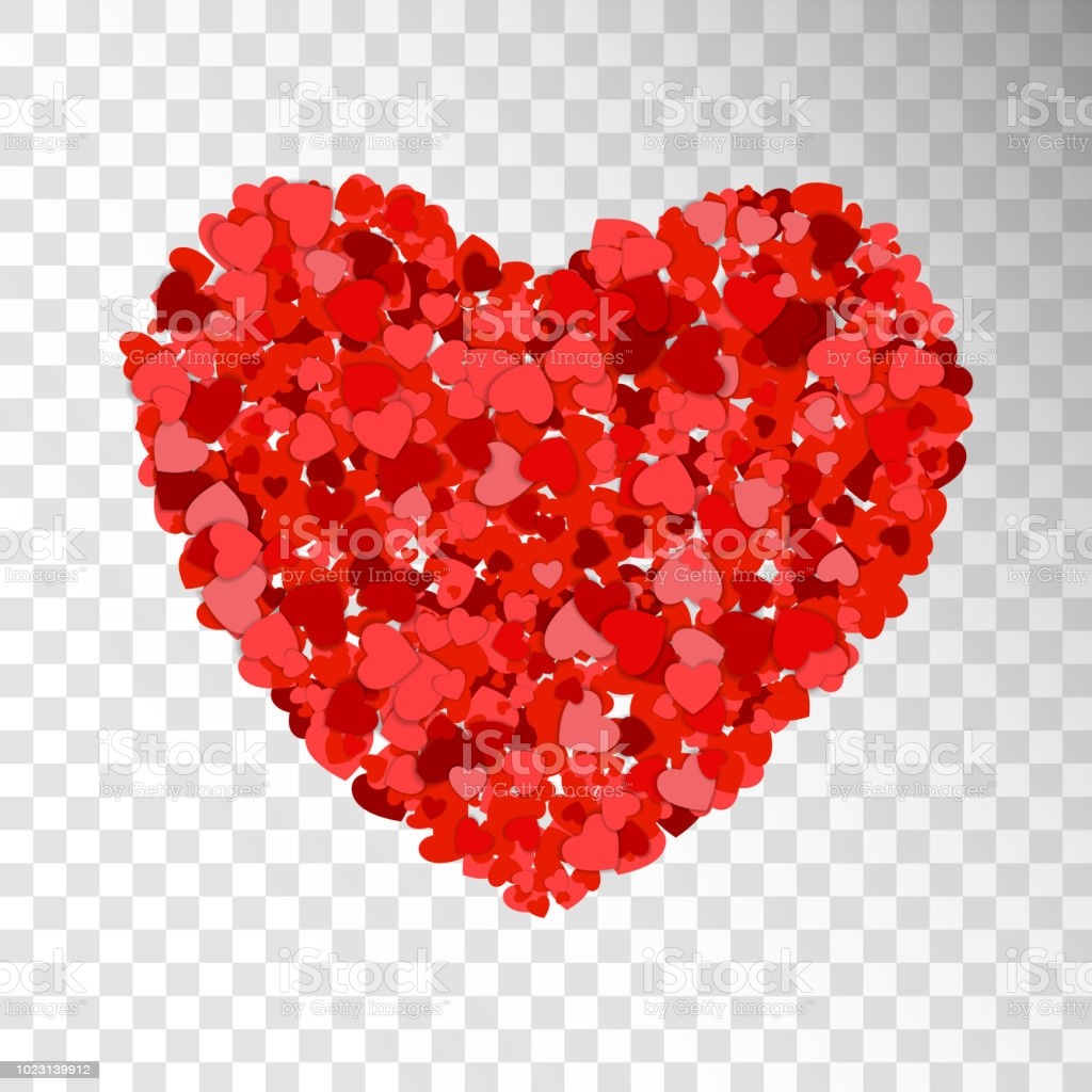 small red and pink hearts creates one big heart on transparent background happy gm
