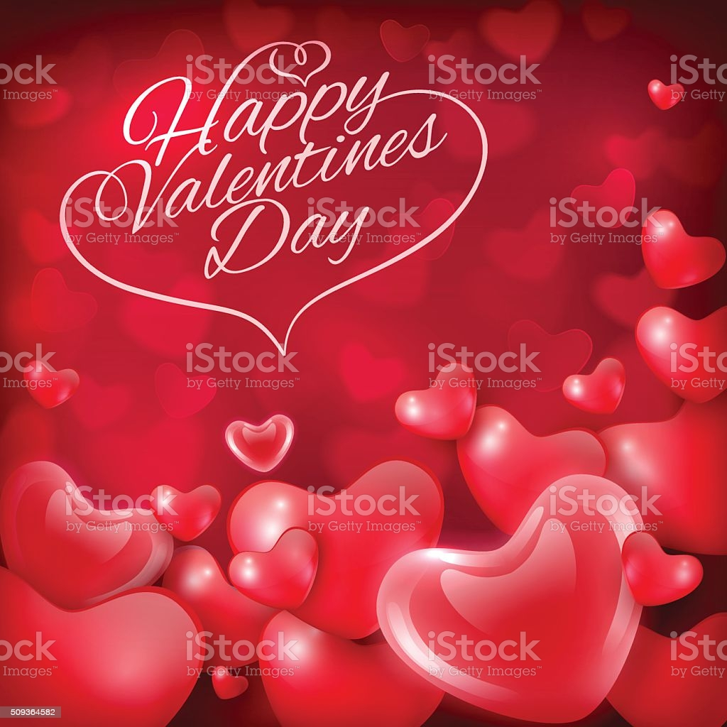 happy valentines day greeting card template with hearts and inscription gm