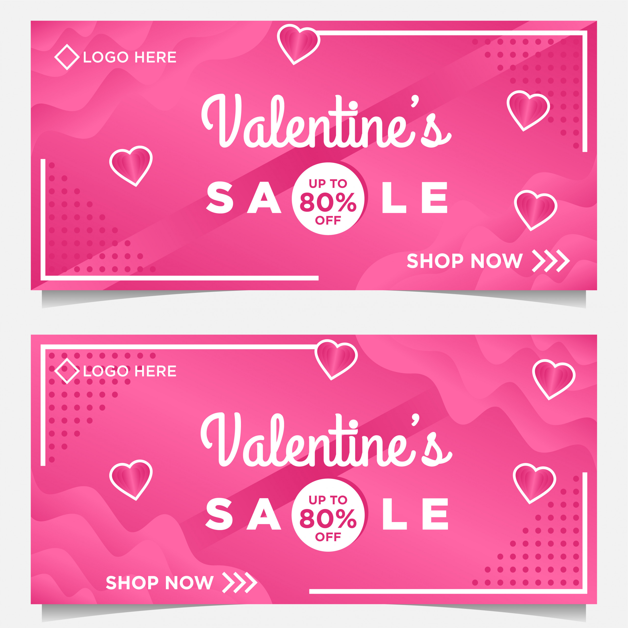 happy valentine day banner template with pink background vector