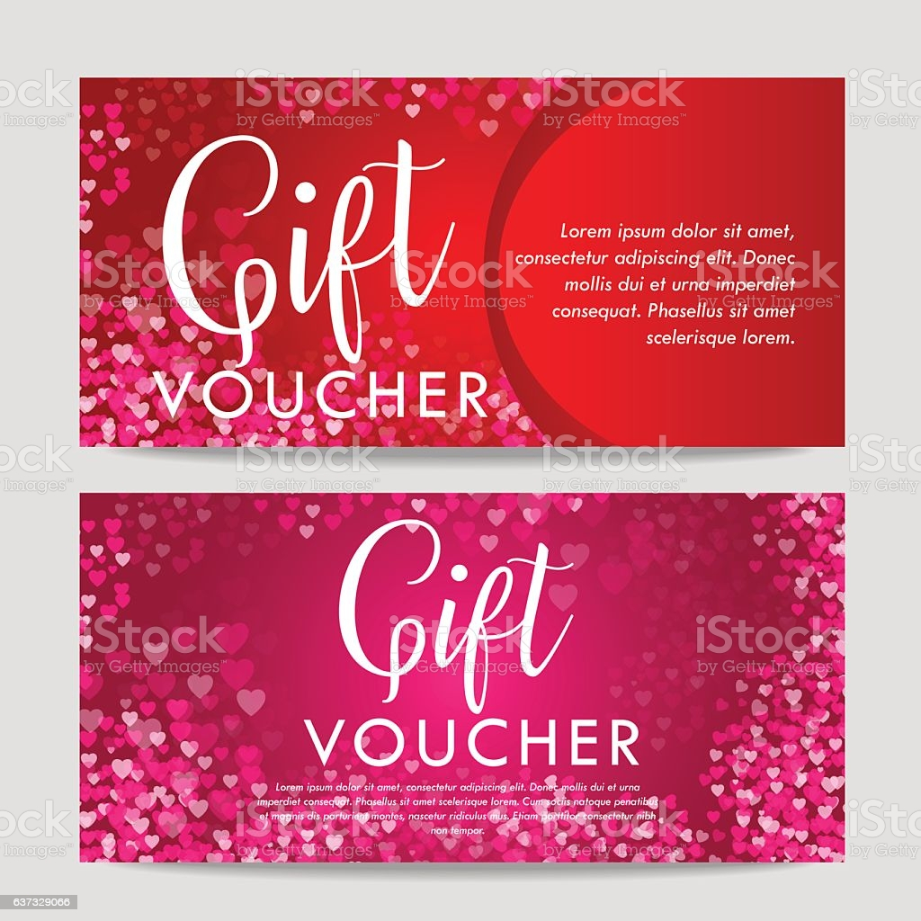 valentines day t card voucher template on beautiful background with gm