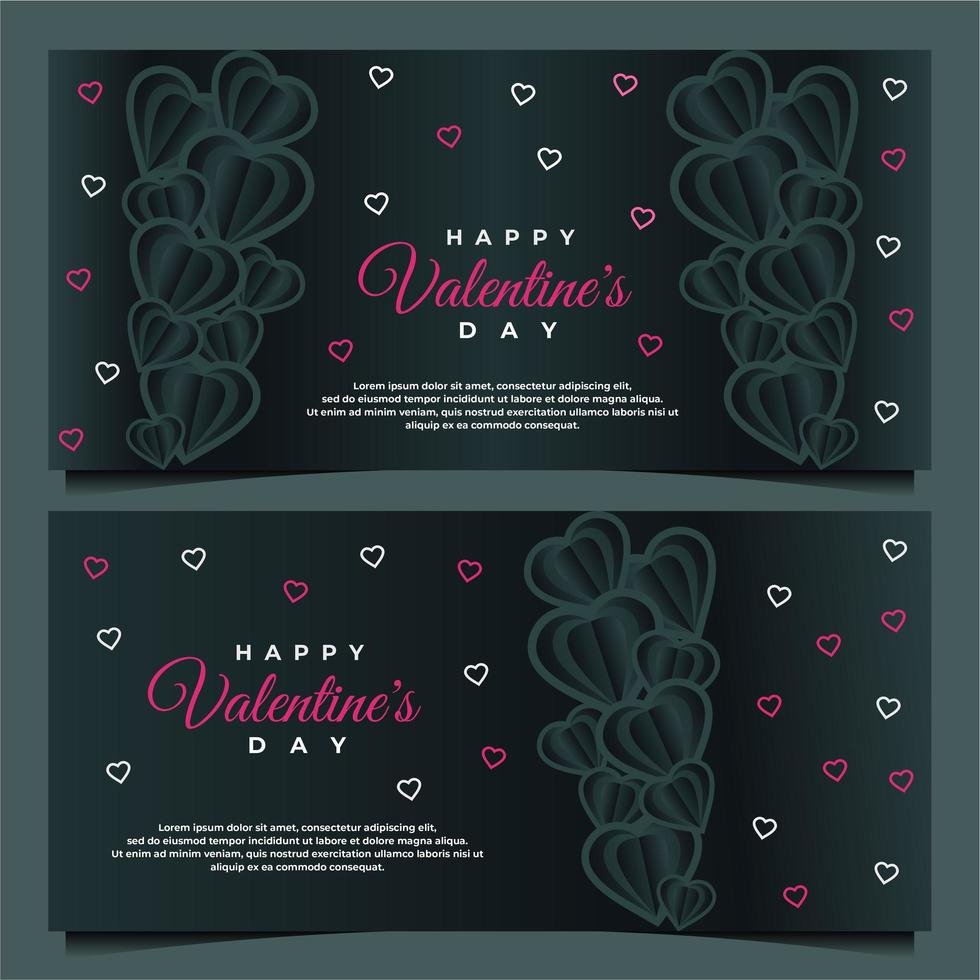 happy valentine s day banner template with dark background template vector