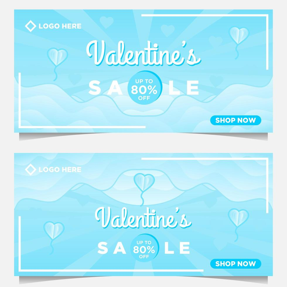 happy valentine s day sale banner template with blue background vector