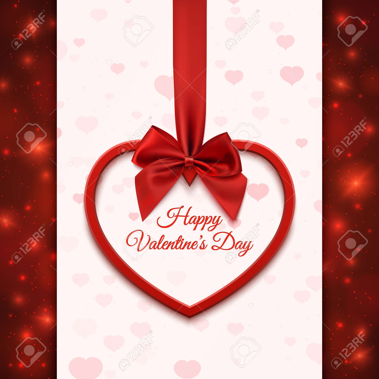 photo stock vector happy valentines day greeting card template red heart with red ribbon and bow on abstract background