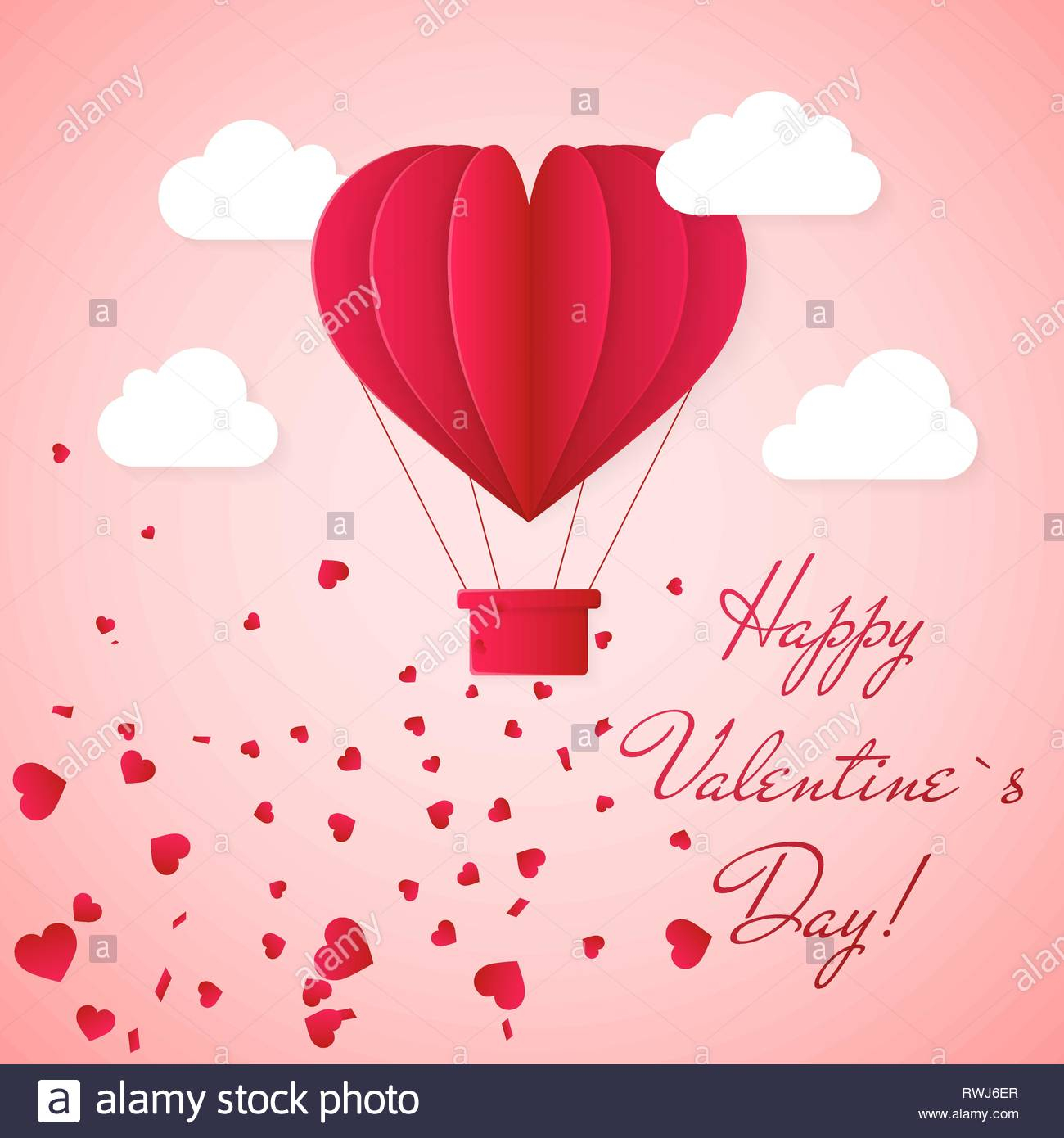 happy valentines day invitation card template with red origami paper hot air balloon in heart shape white clouds and confetti pink background vecto RWJ6ER