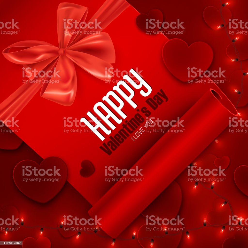 valentines day romantic love background template with hearts and led lights vector gm