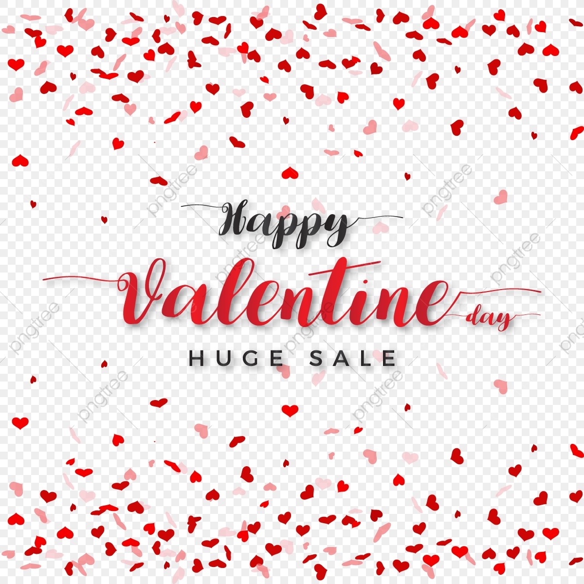 Special Valentine Day Sale With Transparent Heart Background