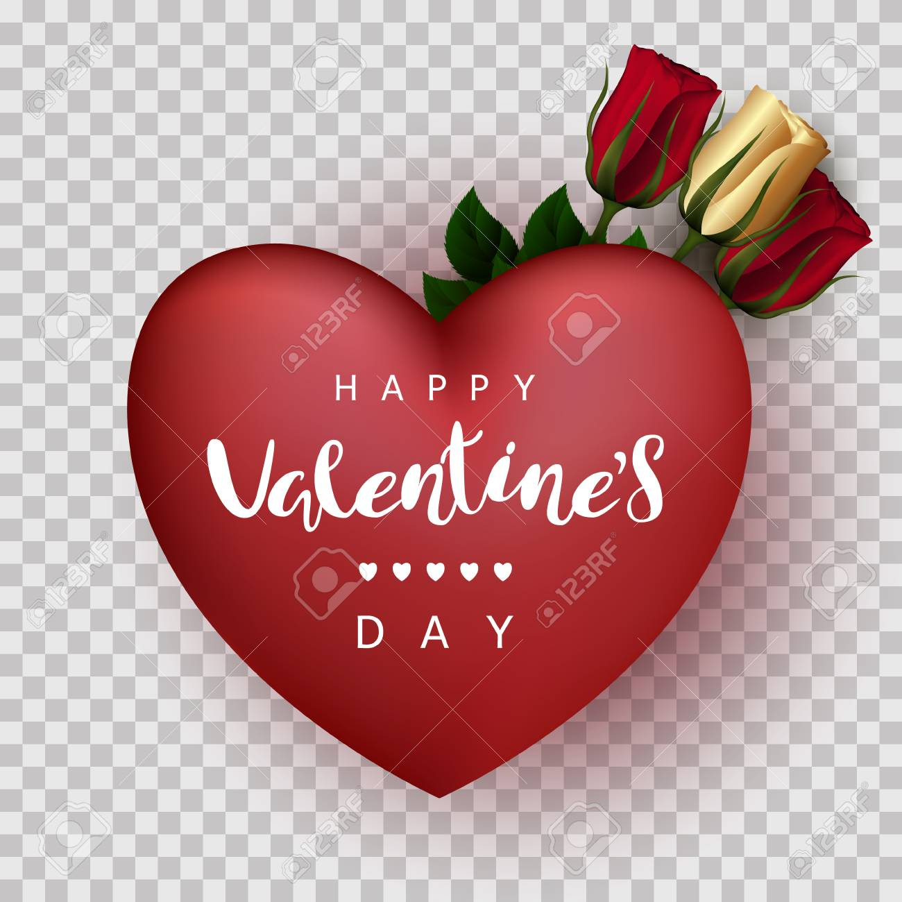 photo stock vector red heart with roses on a transparent background festive inscription lettering happy valentine s day