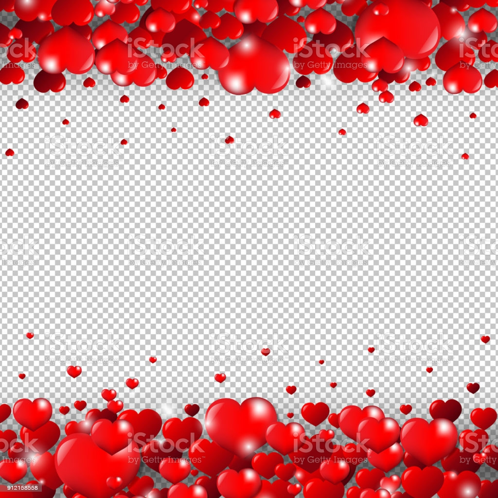 valentines day border isolated transparent background gm