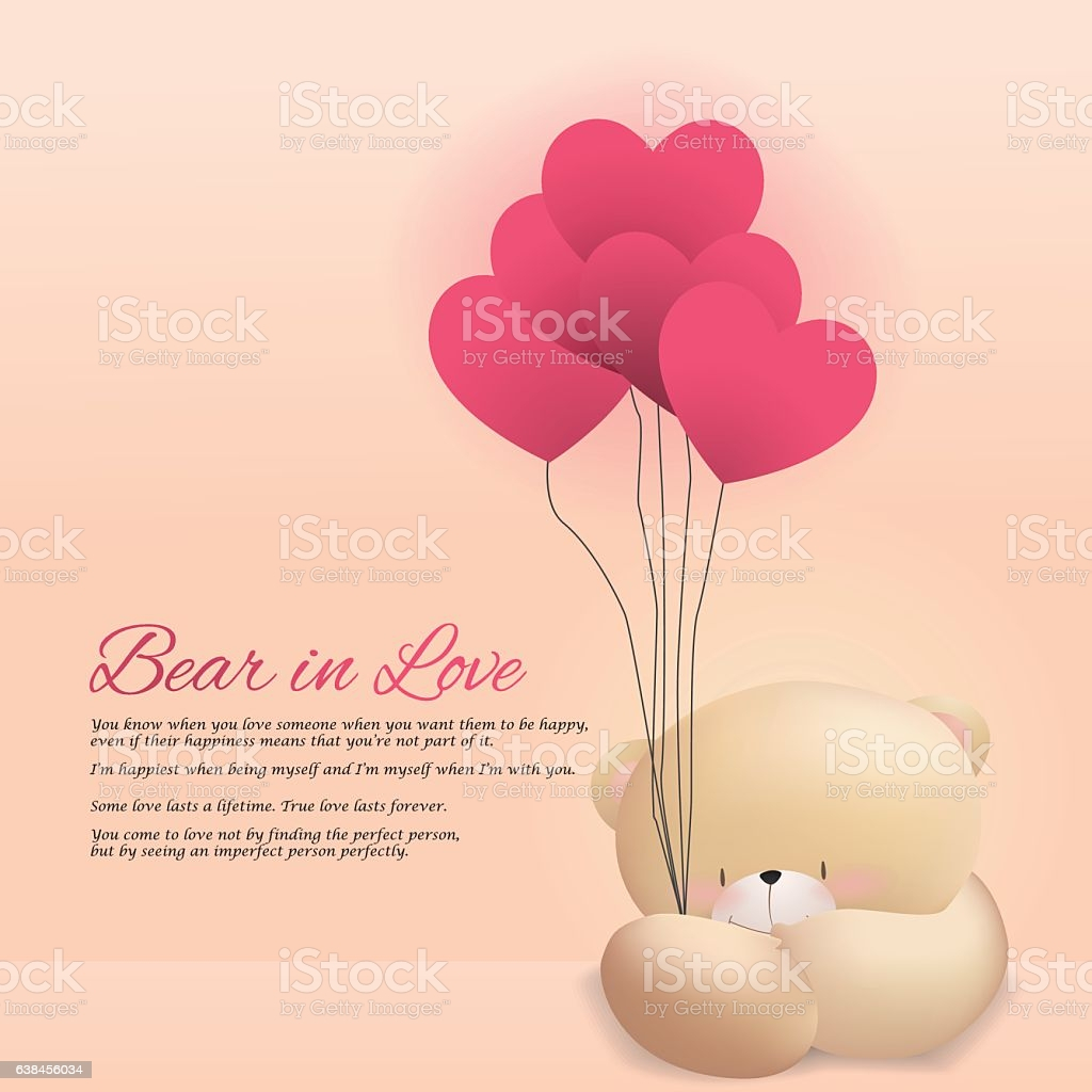 love bear happy valentines day pink background wallpaper card gm