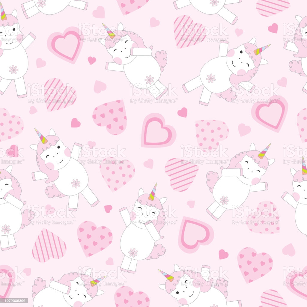 valentines day seamless background with cute pink unicorn and pink vector id