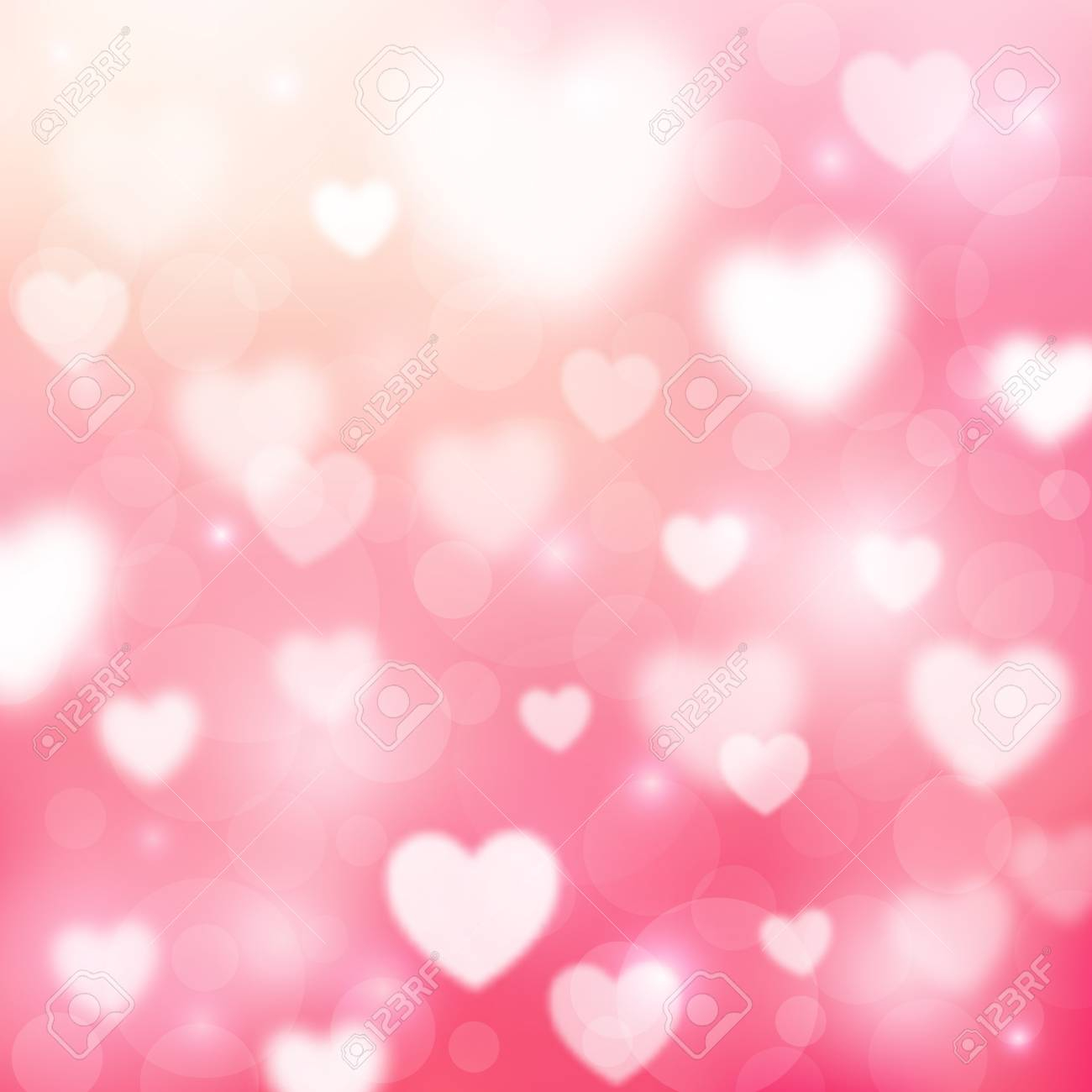 abstract romantic pink background with hearts and bokeh lights st valentines day wallpaper blurred s
