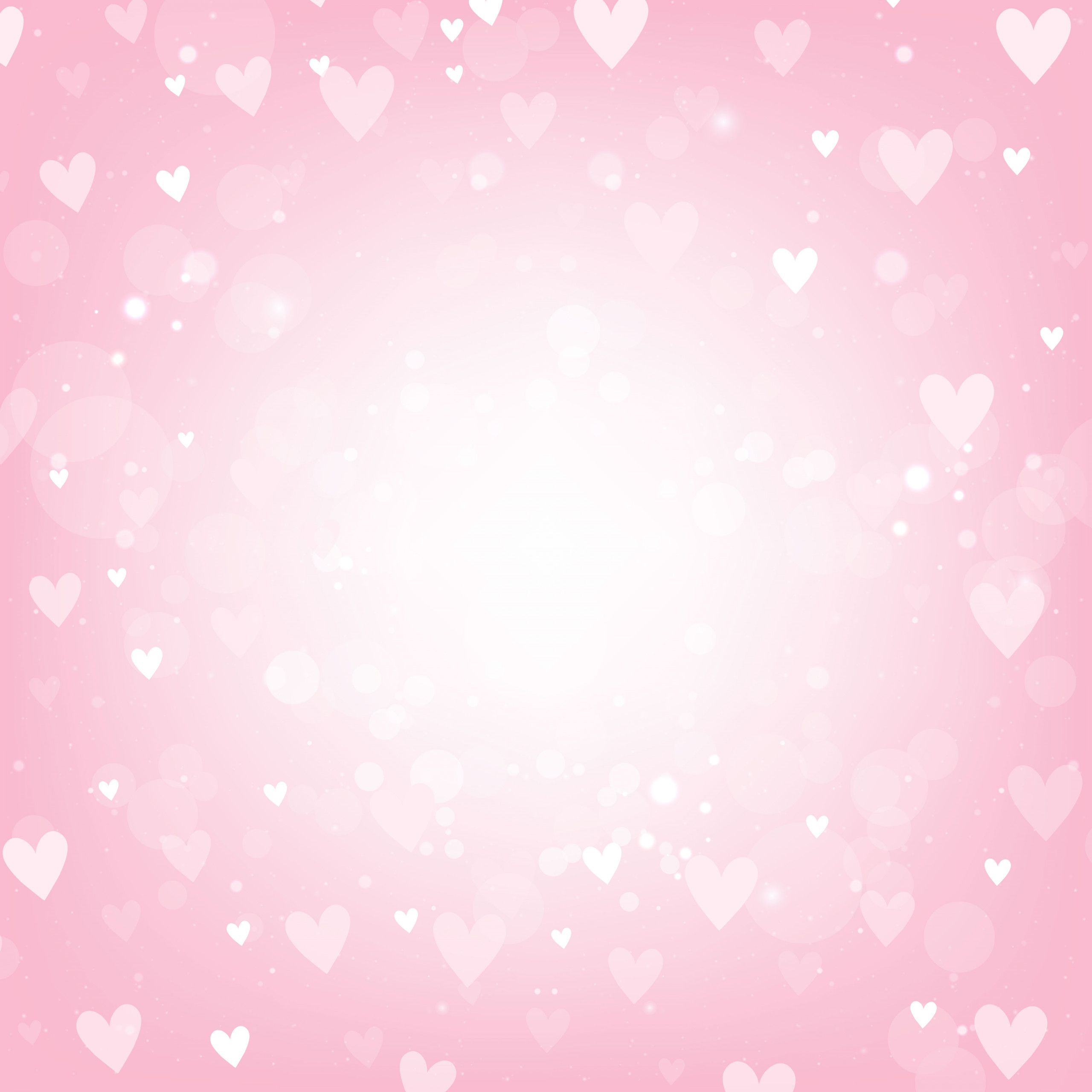 vector pink valentines day background with hearts and bokeh lights