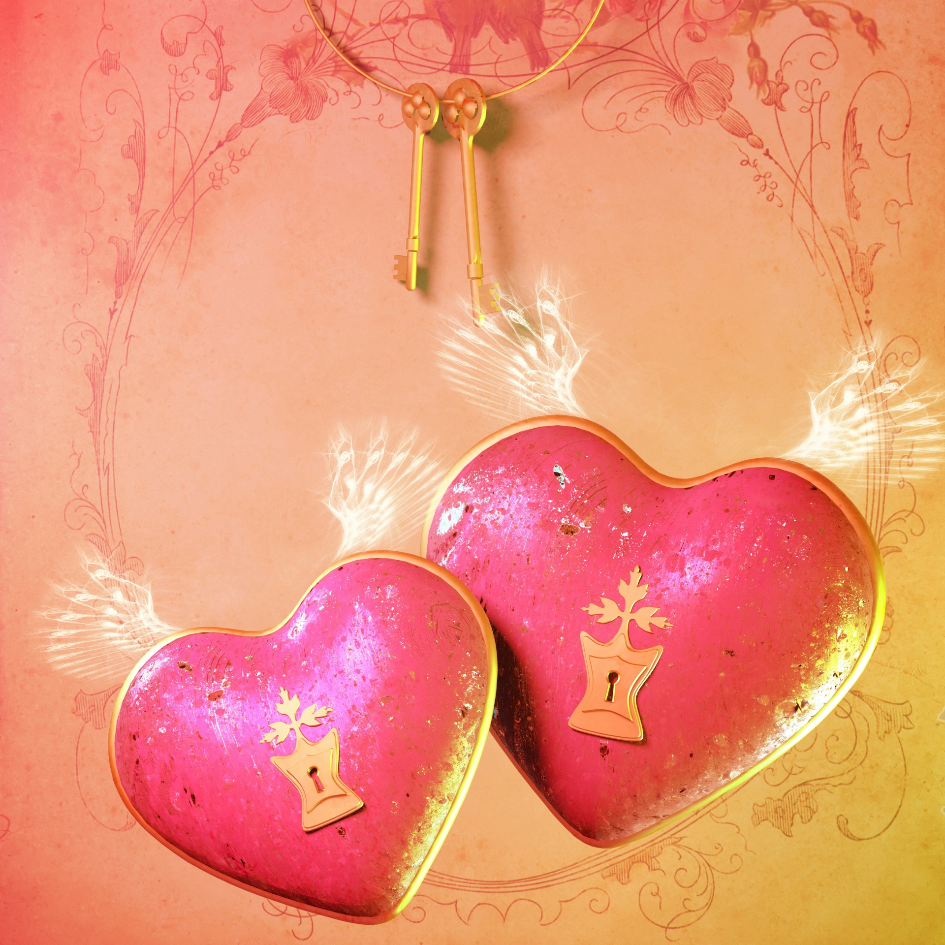 Valentine s Day Colored background Heart Two Key 1920x1920