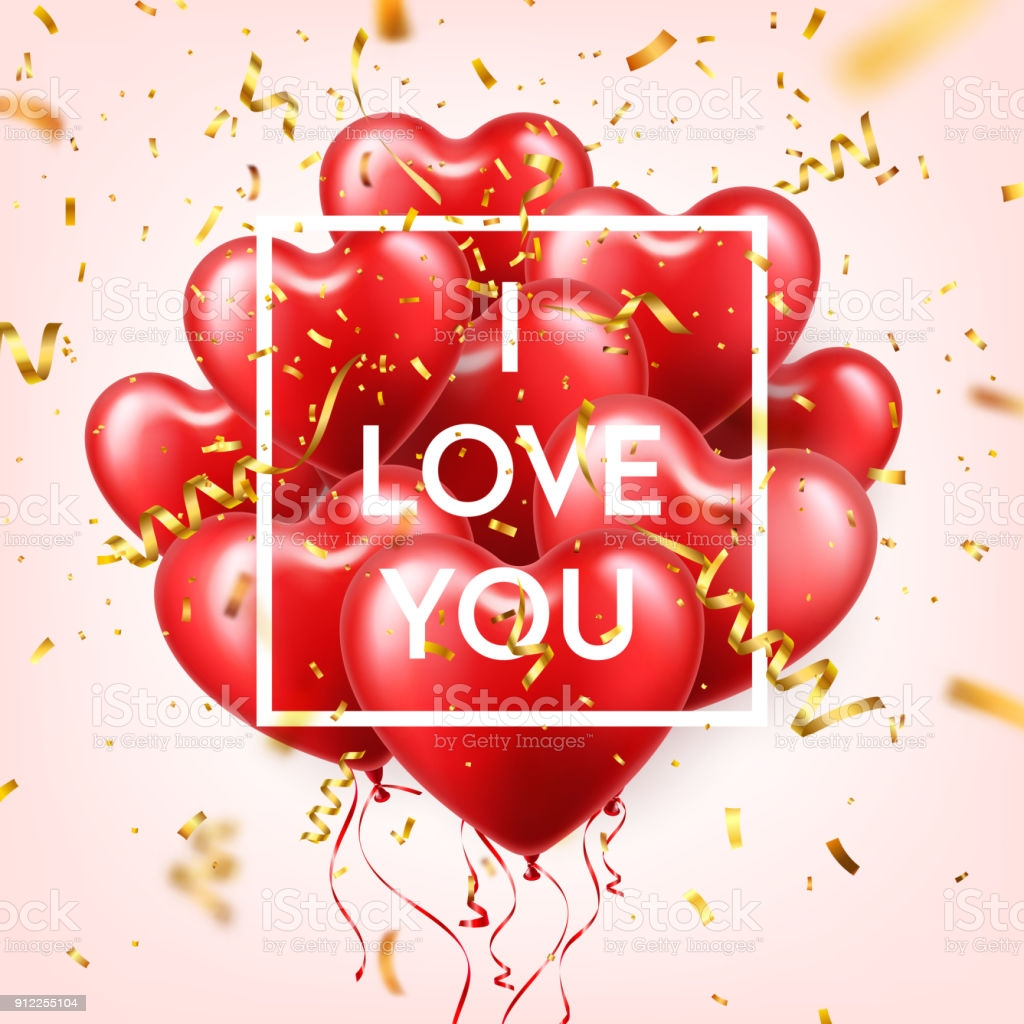 valentines day abstract background with red 3d balloons and golden confetti heart gm