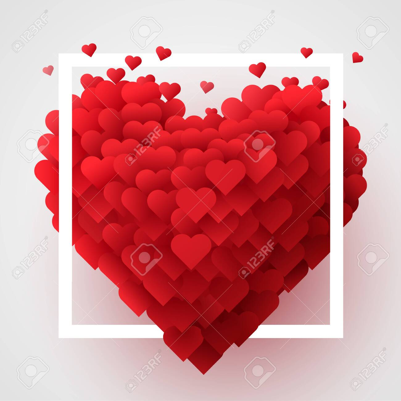 photo stock vector valentines day background with red 3d hearts cute love banner or greeting card place for text happy