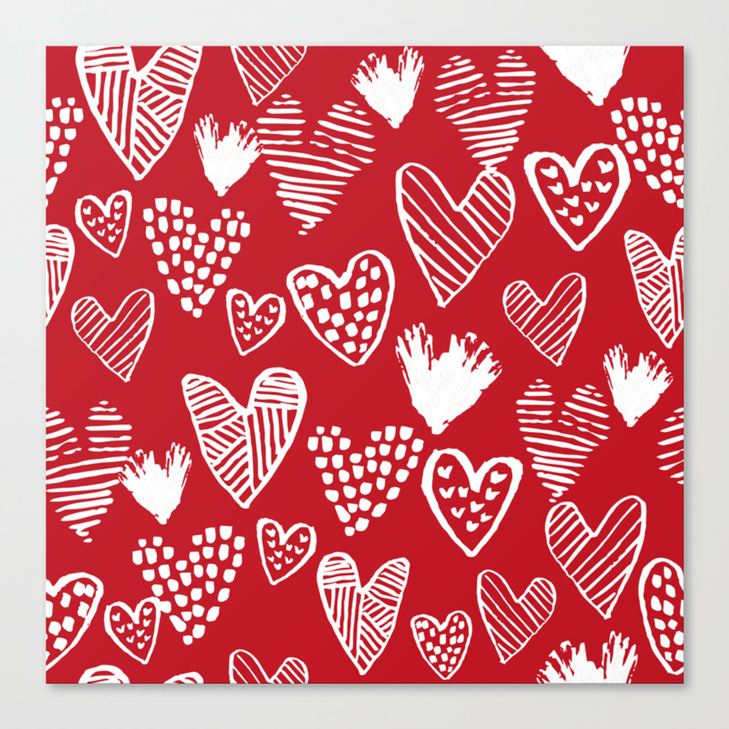 herats red and white pattern minimal valentines day cute girly ts hand drawn love patterns stretched canvas