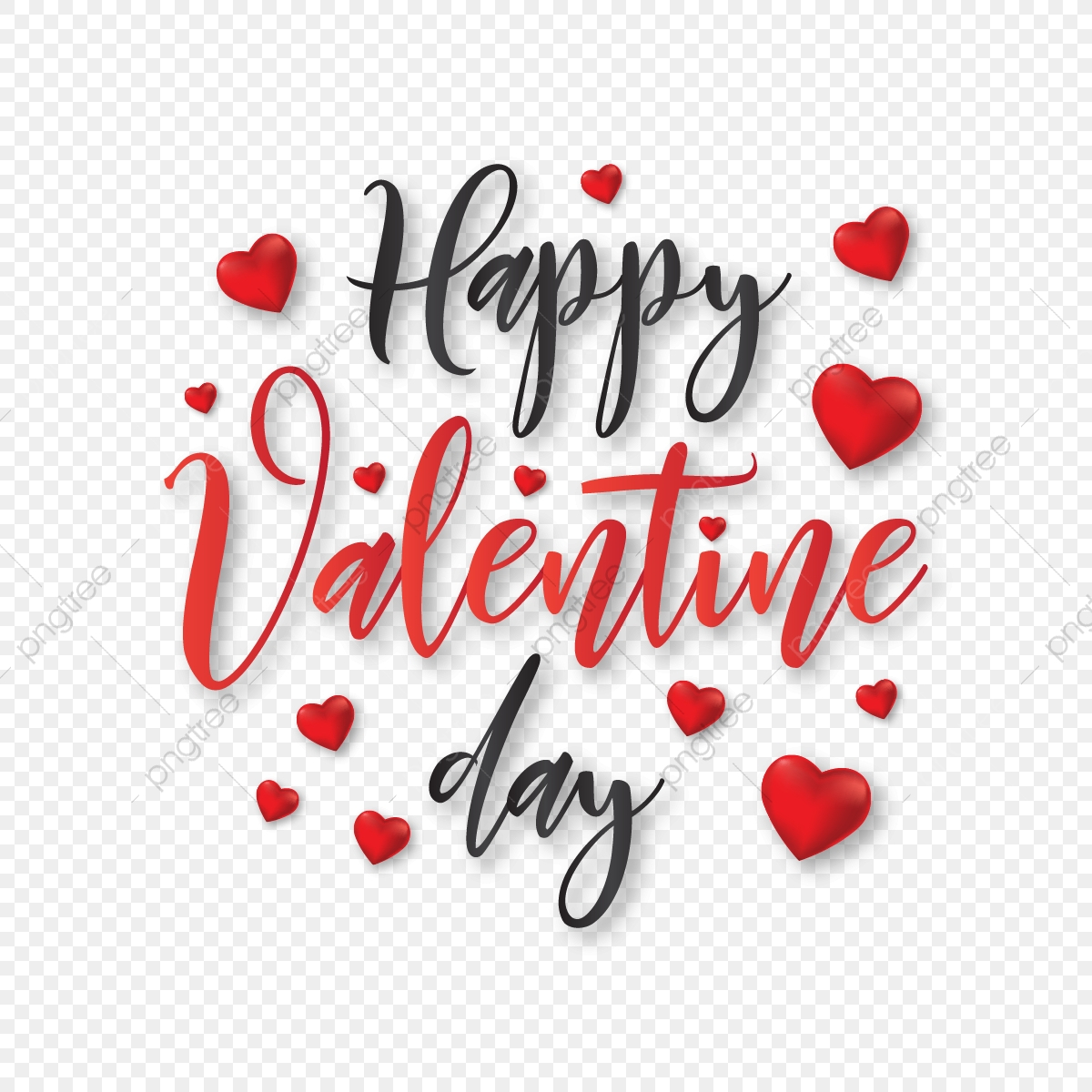 pngtree happy valentine day typography with hearts vector png image