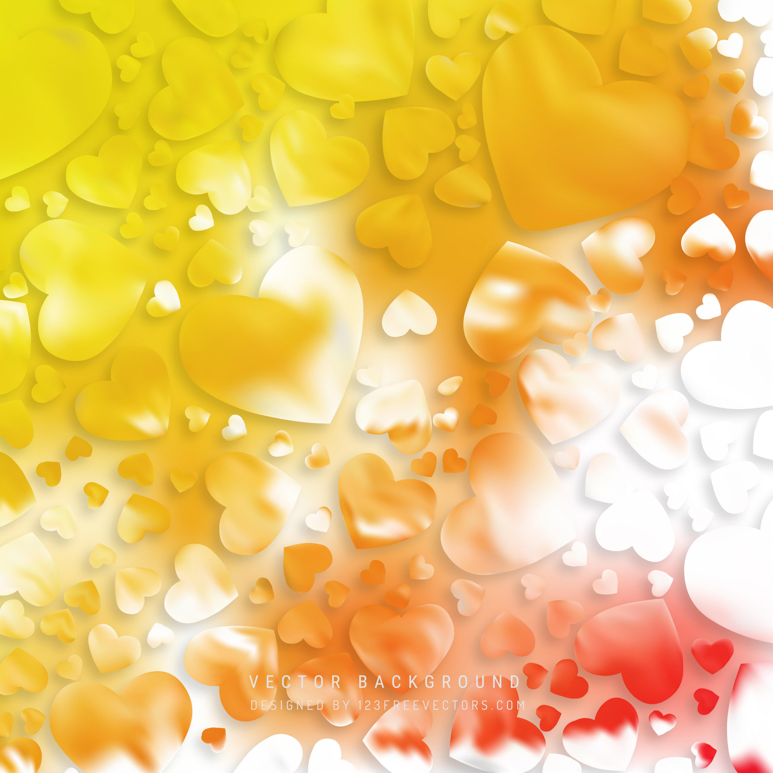 abstract valentines day yellow orange heart background