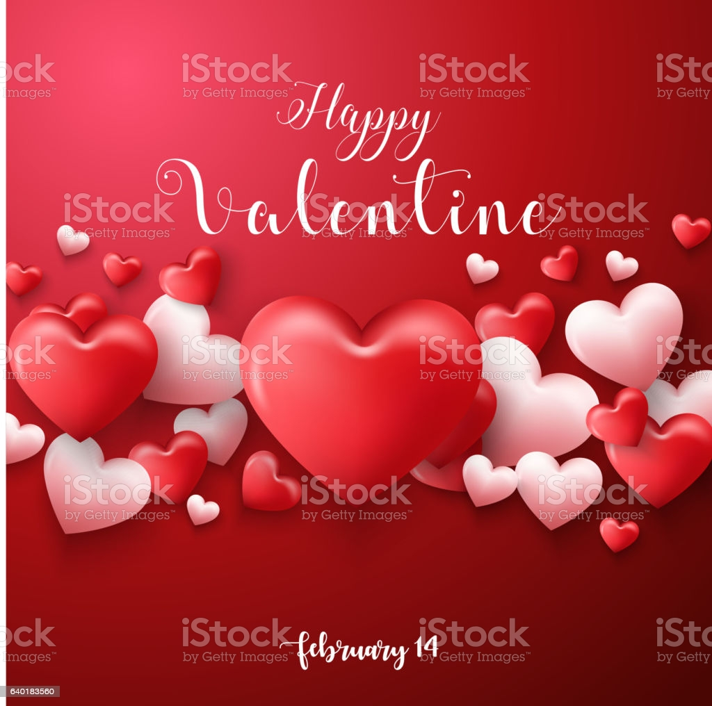 happy valentines day background with hearts balloon in red background gm