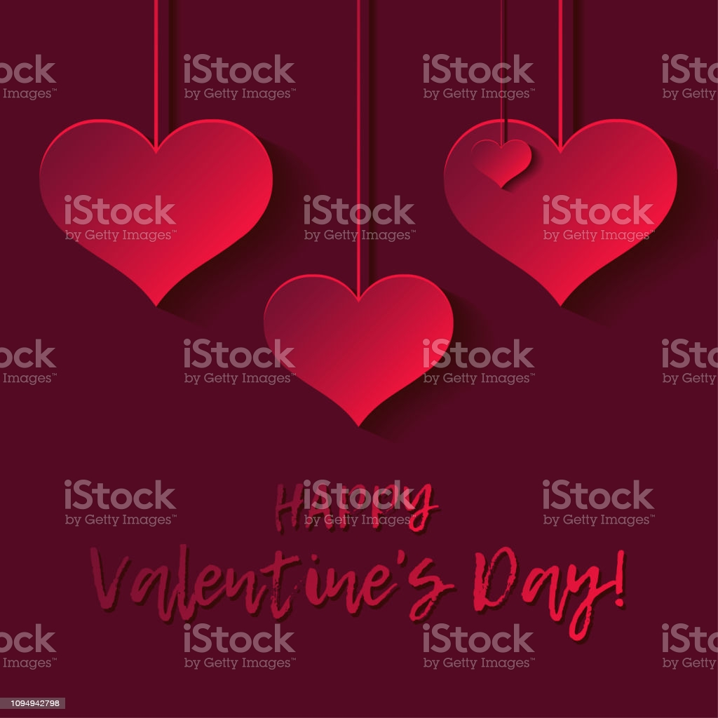 decorative 3d red hearts on red background with shadow valentines day gm