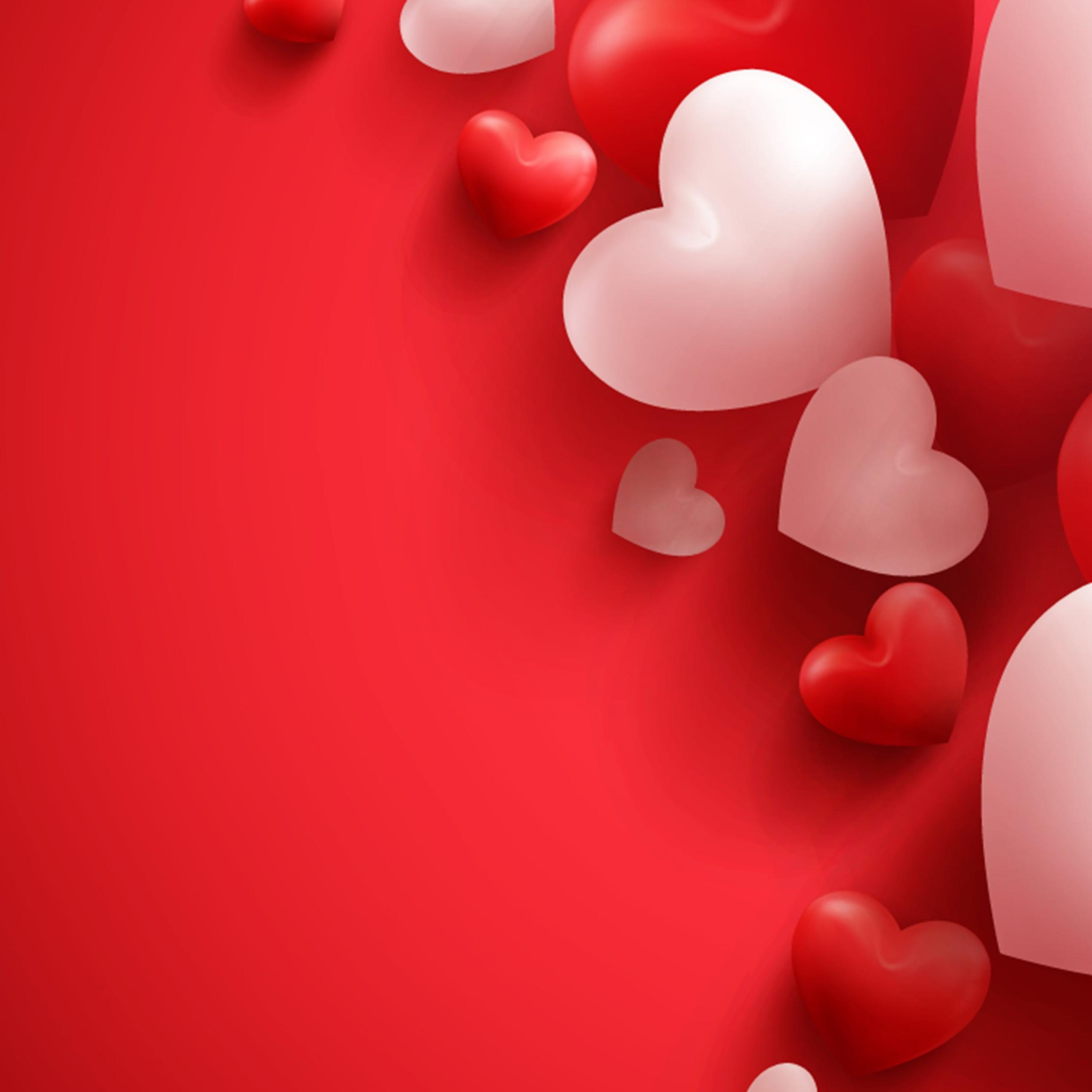 love wallpaper with red and white hearts valentines day 2524x2524
